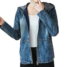 2617047424a Women Embroidered Hoode Zip Casual Short Jean Jacket Coat