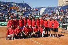 Equipo español al completo tras imponerse a los austriacos por 3-1 en Cuartos de final de la Copa Davis 2012