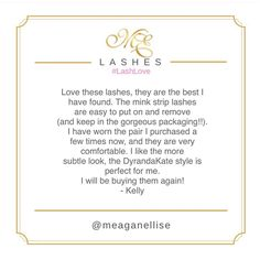 Keep all the #LashLove coming! I adore hearing all your amazing feedback 🙌🏼😍 definitely lights up my day! Thankyou Kelly! 😘 We stole this review from our Google reviews! Search 'MeaganEllise Lashes' to leave some love! Xx #MeaganEllise #Lashes