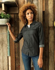 Ladies' Jeans Stitch Denim Shirt, Style code PR322