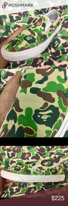 "CUSTOM BAPE CAMO PRINT VANS ""SLIP ON"" MENS WOMENS Custom made to order. Buyer will RECEIVE ITEM IN 14 DAYS. Why 14 days? Because there is a line of orders that has to be done so please have patience. Vans Shoes Sneakers"