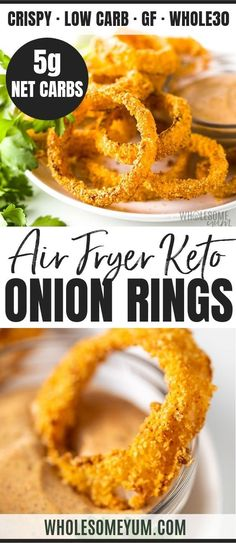 Air Fryer Keto Onion Rings Recipe – This keto air fryer onion rings recipe is SO CRISPY, with 7 ingredients! Learning how to make onion rings in the air fryer is the key to keto onion rings that are just as crispy as real ones. Source by wholesomeyum - Air Fryer Recipes Low Carb, Air Fryer Recipes Breakfast, Air Fryer Dinner Recipes, Low Carb Recipes, Cooking Recipes, Whole30 Recipes, Cooking Dishes, Easy Recipes, Cooking Ribs