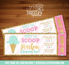 Printable Pink Mint and Gold Glitter Ice Cream Ticket Birthday Invitation | Sundae Party | Candy Bufet | Dessert Party | Digital File | Little Girls Elegant Summer Birthday Party Idea | FREE thank you card | Party Package Available | Banner | Cupcake Toppers | Favor Tag | Food and Drink Labels | Signs | Candy Bar Wrapper | www.dazzleexpressions.com