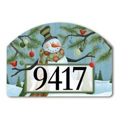 """Let It Snow Address Sign by MagnetWorks. $15.95. Includes 2 sets of easy-to-apply self-adhesive address numbers.. Address plaques snap into place onto our Yard Stake.. Magnetic address sign measures 14"""" x 10"""".. Or display as hanging address sign using our Ornamental Address Post.. Yard Designs are vinyl coated for long lasting beauty.. LET IT SNOW From Magnet Works Yard DeSigns®Use this interchangeable 14 in. x 10 in. screen-printed magnet with our Metal Yard De..."""