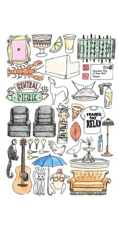 FRIENDS TV Show Minimal Art Print / Colour Black and White Line Drawing Poster Quote Watercolour Sofa Central Perk NYC Guitar Smelly Cat – Desing (graphics & photoshop) Friends Tv Show, Friends Cast, Friends Moments, Friends Series, Friends Tv Quotes, Friends Poster, Large Art Prints, Movie Black, Drawings Of Friends