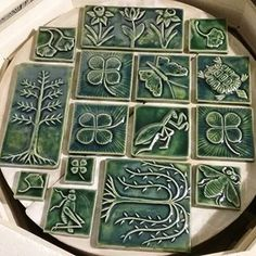 This is the top shelf of a whole kiln full of tiles for artTILE 2018 at @indigenousgallery in Cincinnati, Ohio. They are still hot to the touch now, but in a few hours I will unload them and refill the glaze kiln with another batch of tiles for the show! (I promise they aren't all green ☺🍀🌿🌱).....#artTILE2018 #indigenousgallery #cincinnati #handpressed #ceramictiles #tileart #arttiles #handmadetile #handemadetiles #clayeveryday #cone6
