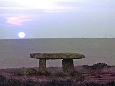 2,000. Moon-rise at Lanyon Quoit, 6 miles north of Penzance, Cornwall. UK. by Ted Motler.