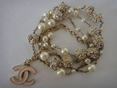 CHANEL A11C PEARL PINK ENAMEL CAMELIA GRIPOIX NECKLACE
