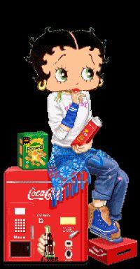 Betty Boop snacking on the Coke machine by  BETHKORNGIRL