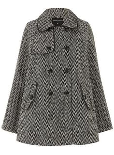 Tweed leather look piped cape - Jackets & Coats  - Clothing