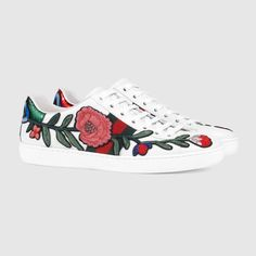 Gucci Ace embroidered low-top sneaker, white leather #gucci #sneakers #embroidered