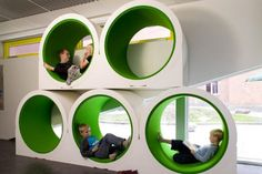 LIbrary design, Unique Reading Seat In Public Kids Library: Children library design decorating ideas with playing spaces