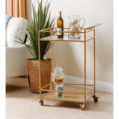ABBYSON LIVING Marriot Gold Kitchen Bar Cart | Overstock.com Shopping - The Best Deals on Kitchen Carts