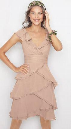 Watters Romantic Ruffle Crinkle Chiffon Short Bridesmaid Dress 8514 at frenchnovelty.com