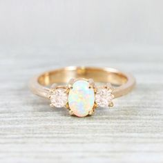Opal and morganite engagement ring handmade trilogy three
