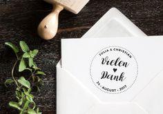 Danksagungskarten - Stempel - Danksagung zur Hochzeit ø 5 cm - ein Designerstück von Cardyes-Shop bei DaWanda