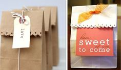Make an inexpensive but darling party favor by simply cutting the ends of the bag with decorative scissors, adding a tag, and tying on a ribbon.