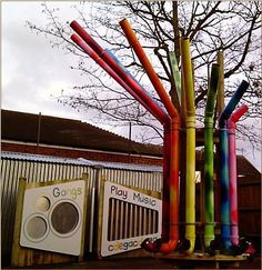Espaço Exterior Playgrounds - Designers & Builders Playground Page Outdoor Play Spaces, Outdoor Fun, Outdoor Learning, Outdoor Activities, Music Garden, Outdoor Playground, Playground Ideas, Sensory Garden, Music Wall