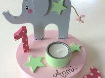 Süßer Kerzenhalter mit Geburtstagszahl und Name!