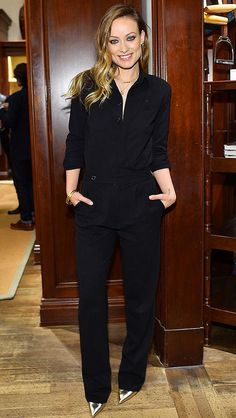 Olivia Wilde in a black Ralph Lauren jumpsuit