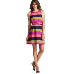 Tall Colorblocked Ribbon Waist Sleeveless Dress | Loft
