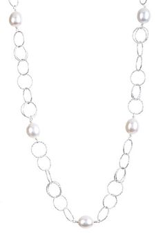 Sterling Silver White Freshwater Pearl Circle Loop Necklace