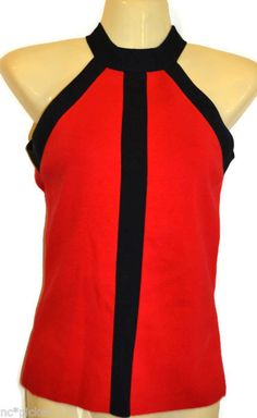 Cache Halter Tank Top Shirt Red & Black Silk XS #SoftSurroundings #TankCami #Casual