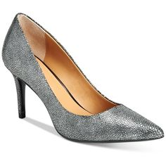 Calvin Klein Women's Gayle Pointed-Toe Pumps ($109) ❤ liked on Polyvore featuring shoes, pumps, silver metallic stingray, pointy-toe pumps, calvin klein pumps, calvin klein, silver metallic shoes and silver metallic pumps
