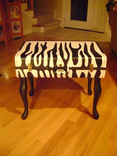 Old Suitcase Painted Zebra Pattern-added legs and made it a table