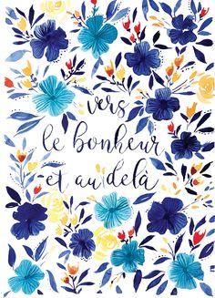Carte aquarelle - carte de voeux 2018 - fleurs - illustration aquarelle - citation positive - Atelier Eksento