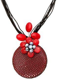 Marniinako Jewellery - Stingray Leather & Coral Strap Necklace