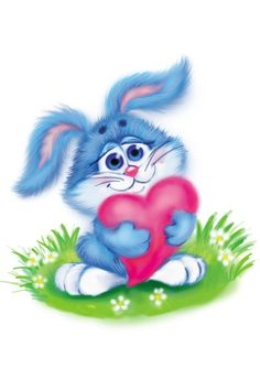 So sweet ! Easter Bunny Pictures, Bunny Images, Cute Images, Cute Pictures, Cartoon Heart, Cute Cartoon, Illustrations, Illustration Art, Beautiful Love Pictures