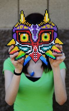 8-bit Majora's Mask  This mask was created by Rosie De La Rosa.