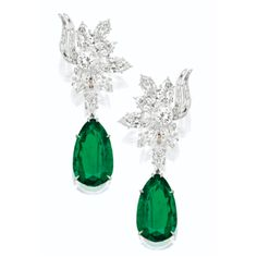 EMERALD AND DIAMOND PENDENT EARRINGS, HARRY WINSTON