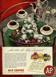 Christmas Coffee, Christmas Past, Vintage Ads Food, The Gathering, Ladies Day, December, Presents, Seasons, Conversation