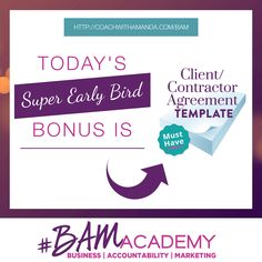#BAM Academy is NOW OPEN to Wait Listers ONLY! Sign up for the #BAM Academy Wait List today and get access to my Client/Contractor Agreement Templates, PLUS 7 Other Bonuses. The earlier you sign up, the more bonuses you get. After today, these template bonuses are GONE! JOIN HERE >> http://coachwithamanda.com/bam?utm_content=buffer436cb&utm_medium=social&utm_source=pinterest.com&utm_campaign=buffer   #BAM #coaching #femaleentrepreneur #womeninbusiness #bossbabes #ladyboss #businesswomen…