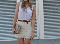 Tank paired with lace shirt and large brown belt. Simple and now!