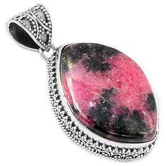 Rhodonite 925 Sterling Silver Pendant Jewelry RDNP348 - JJDesignerJewelry
