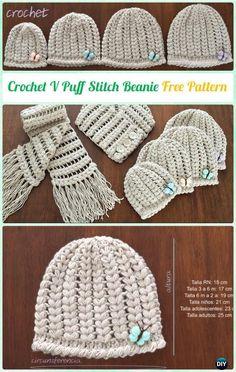 Crochet V Puff Stitch Beanie Hat Free Pattern Video Instruction