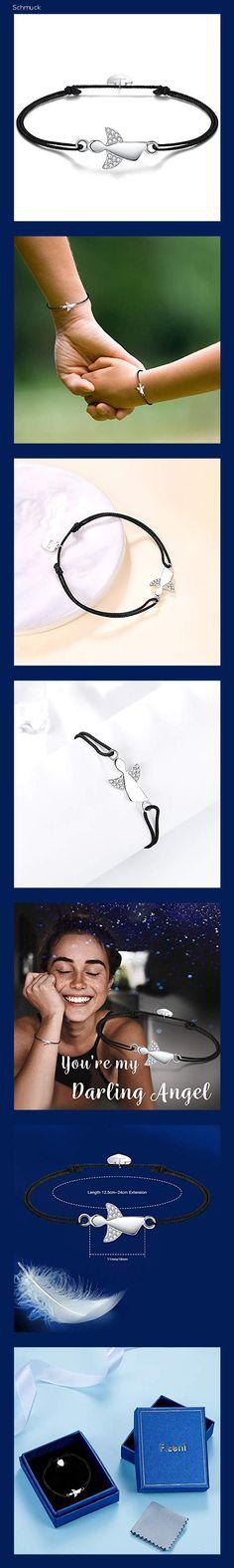F.ZENI Damen Armband Schutzengel 925 Sterling Silber Armbänder Glücksbringer für Frauen und Mädchen 24cm Einstellbare Handarbeit Geflochtenes (Black) - 1520