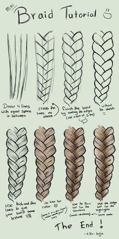 Mini Braid Tutorial drawing zeichnen Drawing Hairstyles For Your Chara. Mini Braid Tutorial drawing zeichnen Drawing Hairstyles For Your Characters - Drawing On Demand. Easy Drawing Tutorial, Sketches Tutorial, Eye Tutorial, Cool Art Drawings, Pencil Art Drawings, Art Drawings Sketches, Simple Drawings, Illustration Sketches, Easy People Drawings
