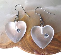 Pretty Rhinestone Heart Earrings ~ FREE Shipping in the USA!