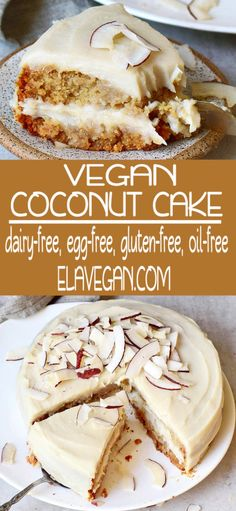 desert life Moist and creamy vegan coconut cake with a coconutty sweet potato frosting which reminds of Raffaello! The recipe is dairy-free, egg-free, gluten-free, oil-free, refined sugar- Sugar Free Desserts, Vegan Dessert Recipes, Gluten Free Desserts, Dairy Free Recipes, Cake Recipes, Dairy Free Cakes, Frosting Recipes, Delicious Desserts, Vegan Recetas