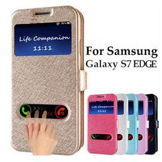 Window Flip Case For samsung galaxy s5 J7 Note7 S6 S7 Edge Plus S4 Prime case Coque Cover Flip Leather Mobile Phone Case