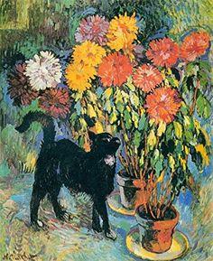 Dahlias and Black Cat Nicolas Tarkhoff - 1907 Canvas Wall Art, Wall Art Prints, Poster Prints, Flower Artwork, Art Prints For Sale, Cat Drawing, Cat Art, Illustration Art, Images
