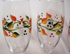 Fall Leaves Hand Painted Wine Glasses set of Four by paintpuddles