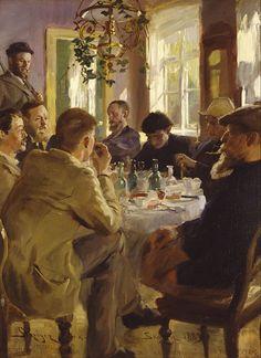 Peder Severin Krøyer - Artists' Luncheon at Brøndum's Hotel 1883. The figures are (from the left) Eilif Petersen, Michael Ancher (standing), Wilhelm Peters, Charles Lundh, Degn Brøndum, Johan Krouthén, Oscar Björck and Christian Krohg.