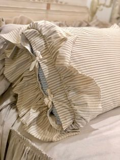 A Pair of Canvas Pillows Covers Stripe Light Brown Beige with Long Ruffles Bedding Decor Handmade French Country Farmhouse Wedding Birthday Sewing Pillows, Diy Pillows, Linen Pillows, Decorative Pillows, Throw Pillows, Cushions, Ruffle Pillow, Ruffle Bedding, Linen Bedding