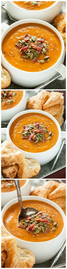 Slow Cooker Carrot Butternut Soup - Roast up a tray of delicious winter veggies and sit back as your slow cooker turns them into the most silky Carrot Butternut Soup!