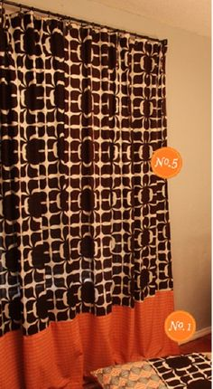 Curtains made out of shower curtains.  There are so many cute patterns out there and  you can find them pretty reasonably priced.  She just added a second panel at the bottom to make it more unique and extend the length.  www.onegoodthingbyjillee.com